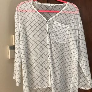 Cabi XS Black and White Sheer Blouse